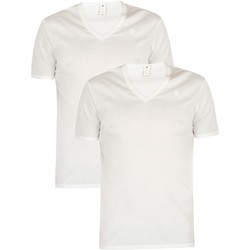 Clothing Men Short-sleeved t-shirts G-Star Raw 2 Pack Slim V-Neck T-Shirt white