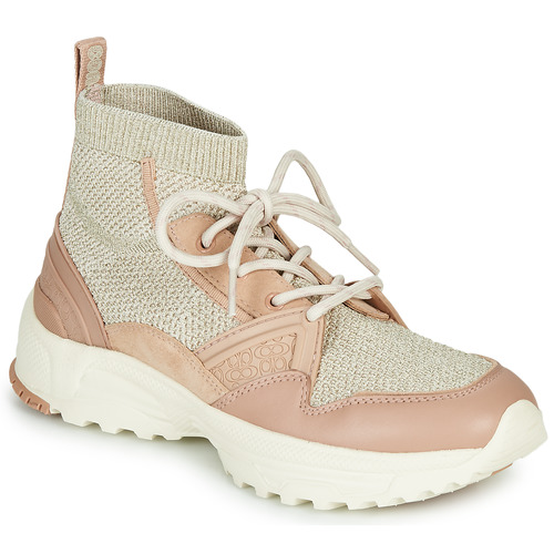 Shoes Women Hi top trainers Coach C245 RUNNER Pink / Nude / Silver