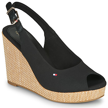 Shoes Women Sandals Tommy Hilfiger ICONIC ELENA SLING BACK WEDGE  black