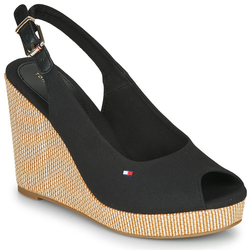Shoes Women Sandals Tommy Hilfiger ICONIC ELENA SLING BACK WEDGE  black