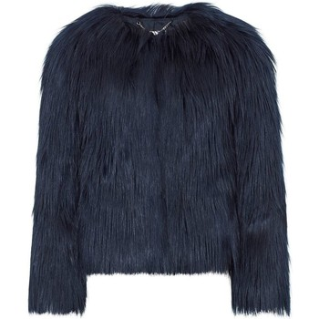 Clothing Women Coats Anastasia Navy Dawn Luxe Faux Mongolian Faux Fur Jacket Blue