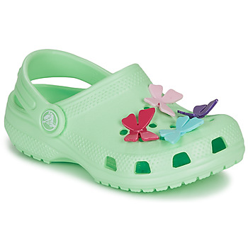 Shoes Girl Clogs Crocs CLASSIC BUTTERFLY CHARM CLG PS Green / Clear