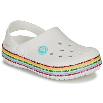 Shoes Girl Clogs Crocs CROCBAND RAINBOW GLITTER CLG K White