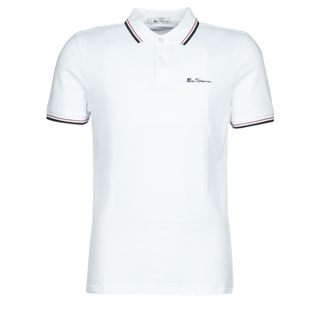 Clothing Men short-sleeved polo shirts Ben Sherman SIGNATURE POLO White / Black