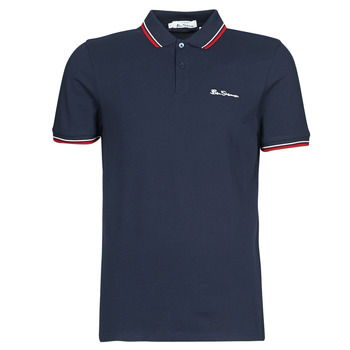Clothing Men short-sleeved polo shirts Ben Sherman SIGNATURE POLO Marine / Red / White