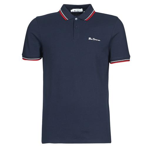 Clothing Men short-sleeved polo shirts Ben Sherman SIGNATURE POLO Marine / Red / White