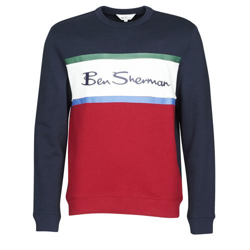 Clothing Men sweaters Ben Sherman COLOUR BLOCKED LOGO SWEAT Marine / Red