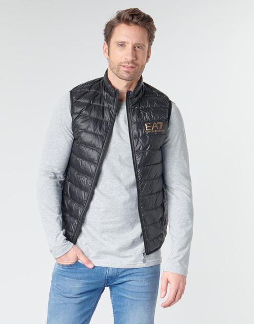 Clothing Men Duffel coats Emporio Armani EA7 CORE ID 8NPQ02 Black / Gold