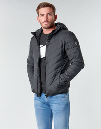 Clothing Men Duffel coats Emporio Armani EA7 TRAIN CORE SHIELD M DOWN LIGHT HOODIE JACKET Black