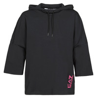 Clothing Women Sweaters Emporio Armani EA7 TRAIN GRAPHIC SERIES W HOODIE CN GRAPHIC INSERT Black / Flower / Multicolour