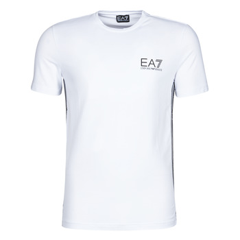Clothing Men short-sleeved t-shirts Emporio Armani EA7 TRAIN LOGO SERIES M TAPE TEE ST White