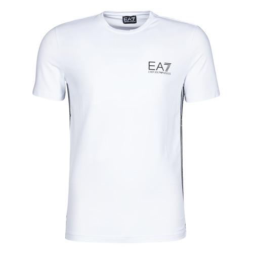 Clothing Men short-sleeved t-shirts Emporio Armani EA7 TRAIN LOGO SERIES M TAPE TEE ST White