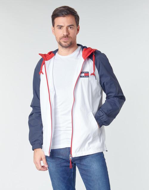 Clothing Men Jackets Tommy Jeans TJM COLORBLOCK ZIPTHROUGH JCKT White / Blue / Red