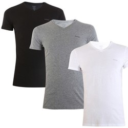 Clothing Men Short-sleeved t-shirts Diesel Umtee Jake Vneck 3PACK White, Black, Grey