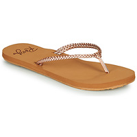Shoes Women Flip flops Roxy COSTAS Pink / Gold