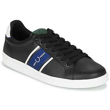 Shoes Men Low top trainers Fred Perry B721 LEATHER / WEBBING Black