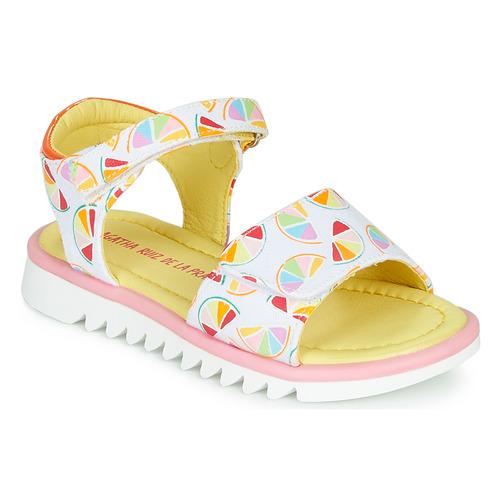 Shoes Girl Sandals Agatha Ruiz de la Prada SMILES White / Multicoloured