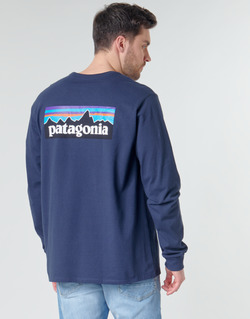 Clothing Men Long sleeved tee-shirts Patagonia M's L/S P-6 Logo Responsibili-Tee Marine