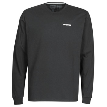 Clothing Men Long sleeved tee-shirts Patagonia M's L/S P-6 Logo Responsibili-Tee Black