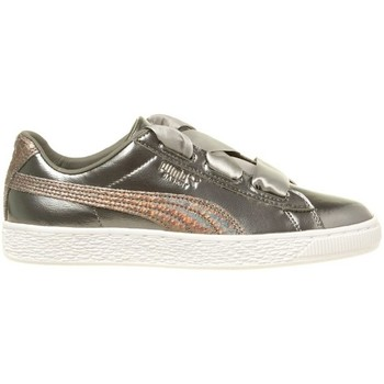 Shoes Girl Low top trainers Puma Basket Heart Lunar Lux JR Silver
