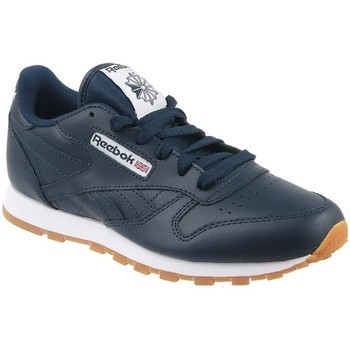 Shoes Children Low top trainers Reebok Sport Classic Lth White,Navy blue