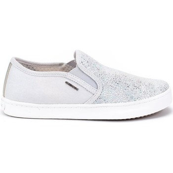 Shoes Children Slip-ons Geox JR Kilwi Girl White, Silver