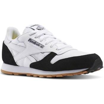 Shoes Women Low top trainers Reebok Sport Whiteblackgum CL Leather Spp Whi White,Black