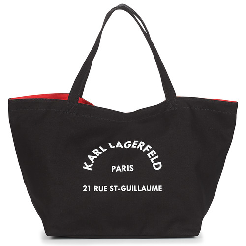 Bags Women Shopping Bags / Baskets Karl Lagerfeld RUE ST GUILLAUE CANVAS TOTE Black