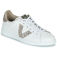 Shoes Women Low top trainers Victoria TENIS PIEL GLITTER White / Pink