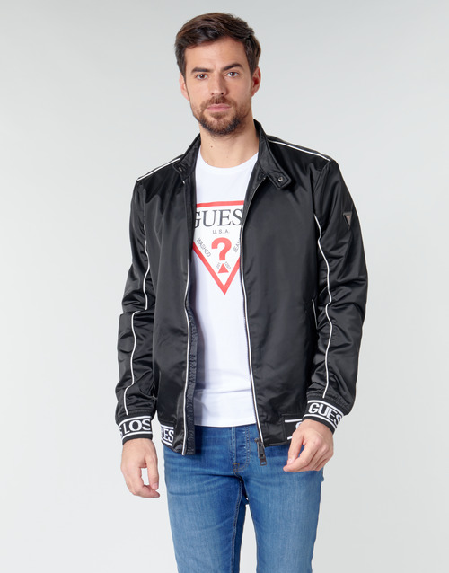 Clothing Men Jackets Guess ICONIC LOGO JKT Black