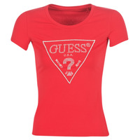 Clothing Women short-sleeved t-shirts Guess SS RN SPARKLE TEE Red