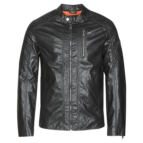 Clothing Men Leather jackets / Imitation leather Guess QUILTED ECO LEATHER JACKET Black