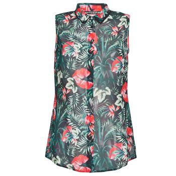 Clothing Women Tops / Blouses Guess SL CLOUIS SHIRT Black / Green / Red