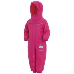 Clothing Children Jumpsuits / Dungarees Regatta PUDDLE IV Waterproof PuddleSuit Oxford Blue Pink Pink