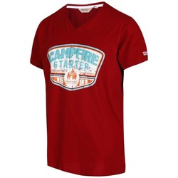 Clothing Men short-sleeved t-shirts Regatta Calton Graphic Print V-Neck T-Shirt Red Red