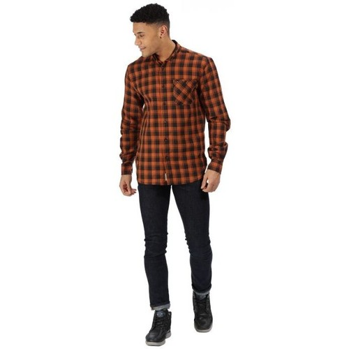 .co.uk  Lazare Long Sleeved Checked Shirt Brown  Regatta  long-sleeved shirts  men  brown
