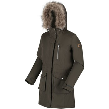 Clothing Women Parkas Regatta Serleena Fur Trimmed Waterproof Insulated Jacket Green Green