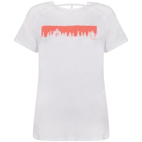 Clothing Women short-sleeved t-shirts Dare 2b Astral Forest Cutout Neck T-Shirt White White