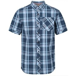 Clothing Men Short-sleeved shirts Regatta DEAKIN III Shirt Navy Check  Blue Blue