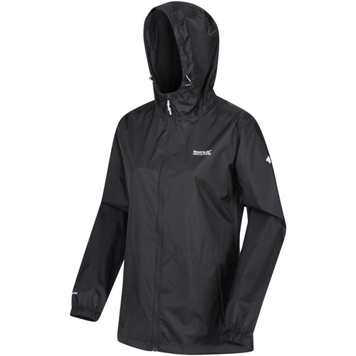 Clothing Women Macs Regatta PACK-IT III Waterproof Shell Jacket Turquoise Black Black