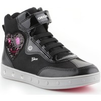 Shoes Children Hi top trainers Geox JR Skylin Girl Graphite,Black,Pink