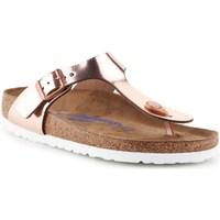 Shoes Women Flip flops Birkenstock Gizeh BS Golden, Beige