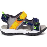 Shoes Boy Sandals Geox JR Borealis Boy Grey, Yellow, Navy blue