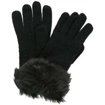Clothes accessories Women Gloves Regatta Adults Luz Cotton Jersey Knit Gloves Light Vanilla Black Black
