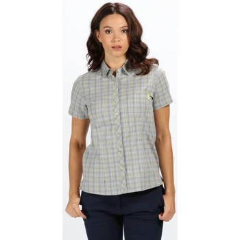 Clothing Women Shirts Regatta Honshu III Short Sleeve Checked Shirt Ceramic Grey Grey
