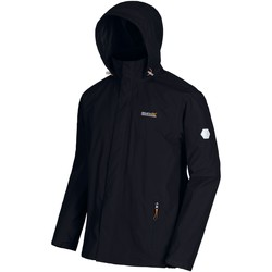 Clothing Men coats Regatta Matt Lightweight Waterproof Jacket with Concealed Hood Black Black