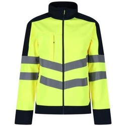 Clothing Men Track tops Professional Hi-Vis 3 Layer Softshell Reflective Work Jacket Yellow Yellow