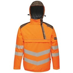 Clothing Men Macs Professional Hi-Vis Waterproof Reflective Overhead Bomber Jacket Orange Orange