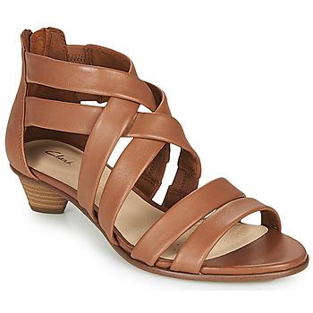 Shoes Women Sandals Clarks MENA SILK Camel