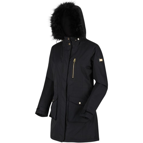 Clothing Women Parkas Regatta Serleena Fur Trimmed Waterproof Insulated Jacket Black Black